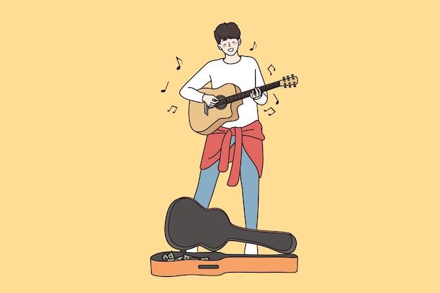 大道芸と物乞いのコンセプト。若い幸せな男性ギタリスト漫画のキャラクターが街でギターを弾いて大道芸を歌う歌のベクトル図を歌う