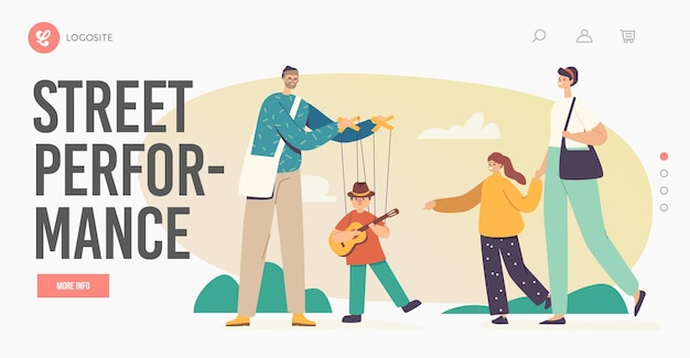 Street performance landing page template. master manipulate puppet toy playing guitar hanging on strings. artist puppeteer character performing show with marionette. cartoon people vector illustration