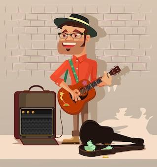 Уличный артист мужчина персонаж поет песню плоский мультфильм иллюстрация