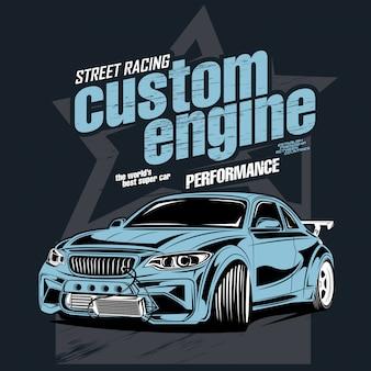 Street racing custom engine, illustration of a drift sports car