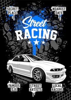 Шаблон оформления плаката уличных гонок с белым белым старым школьным японским автомобилем и грязными элементами гранж на фоне.