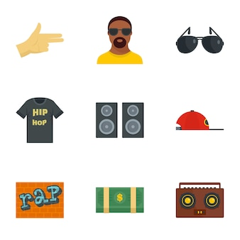 Street rap icon set, flat style
