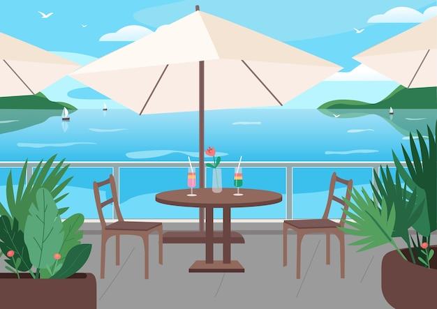 シーサイドリゾートフラットカラーイラストのストリートレストラン。テーブルの上のソフトアルコール飲料。