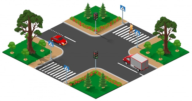 Street road intersection with traffic light. pedestrian man crosses zebra road