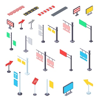 Street road signs isometric kit illustration