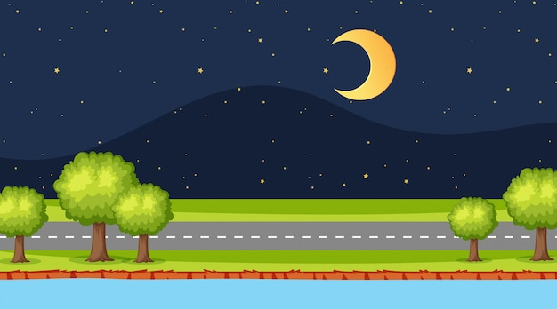 Уличная сцена ночью