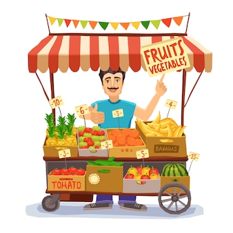 Street seller illustration