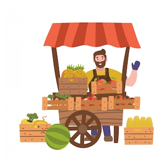 Street seller with stall with fruits and vegetables. local farmer business. flat illustration