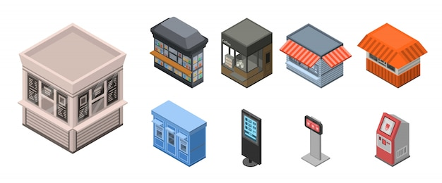 Street shop kiosk icon set, isometric style