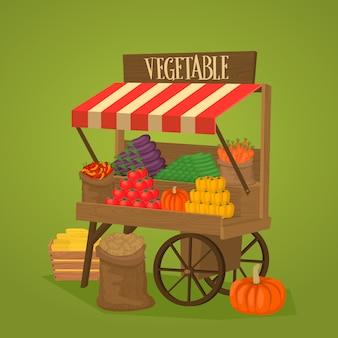 Street shop on wheels with vegetables and fruits
