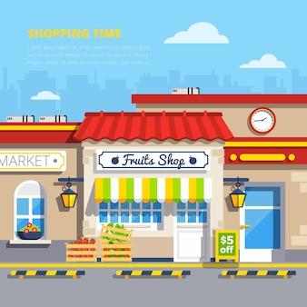 Street shops flat design concept