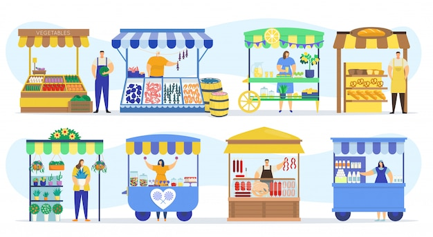 거리 상점 매점 시장, 공급 업체 부스 및 농장 시장 식품 카운터