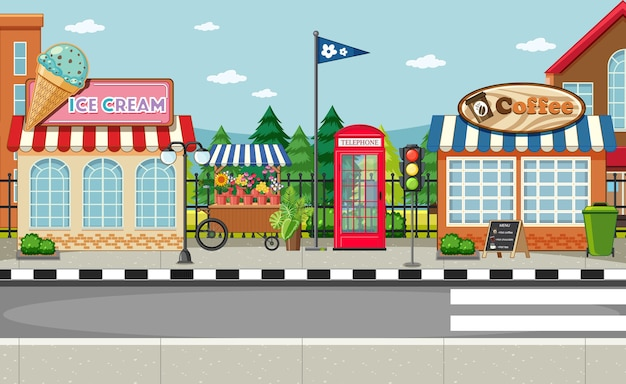 아이스크림 가게와 커피 숍이있는 거리 쪽 장면