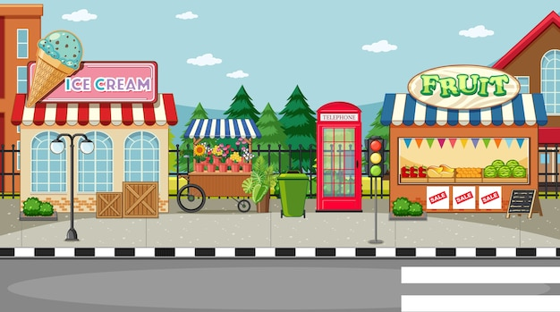 Street side scene with ice cream shop and fruit shop