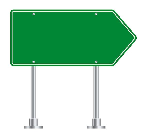 Дорожный знак. указатель правого направления дороги зеленого шоссе.