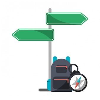 дорожный знак пост рюкзак и навигационный компас