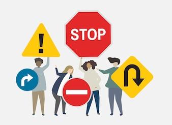 Street signs for safety concerns illustration