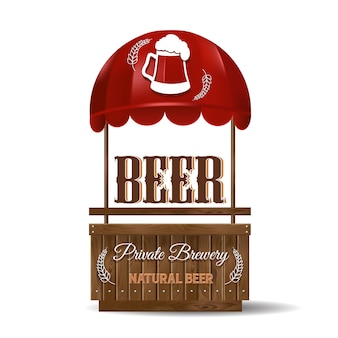 A street stall for the sale of beer. private brewery, natural beer. stand for sale with red awning and wooden planks.