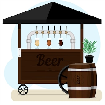 Street stall with draught beer for sale wooden cart with different types of craft beer