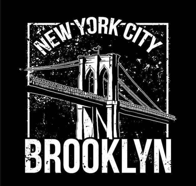 Street style black white print with brooklyn bridge from new york city . for fashion design print on clothes t shirt bomber sweatshirt also for sticker poster patch. underground style.
