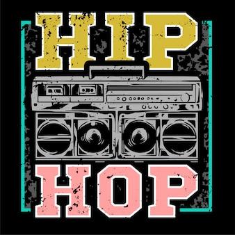 ヒップホップやラップミュージックタイプのビッグラジカセを備えたストリートスタイルのカラフルなプリント。服にプリントされたファッションデザインのtシャツボンバーカバーステッカーポスターパッチ用のシングルスウェットシャツ。地下スタイル