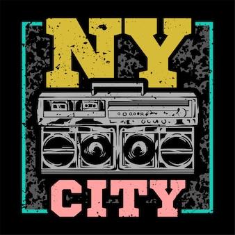 Nycタイプの大きなラジカセ音楽が入ったストリートスタイルのカラフルなプリント。
