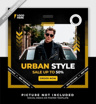 Street style fashion men poster or social media and instagram post template with golden and black colors