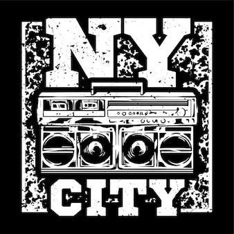 Street style monochrome print design with big boombox and with nyc type.