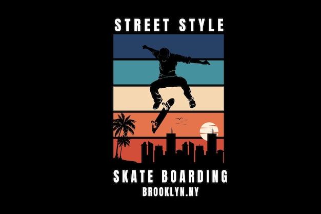 ストリートスタイルのスケートボードブルックリンカラーグリーンオレンジとクリーム
