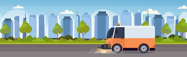 Street sweeper truck machine cleaning process industrial vehicle urban road service concept modern cityscape background horizontal banner flat