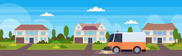 Street sweeper truck machine cleaning process industrial vehicle urban road service concept modern townhouse building countryside background horizontal flat