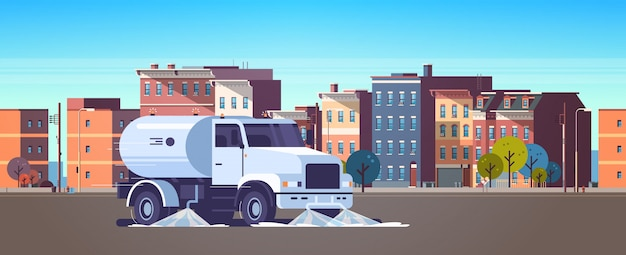 Street sweeper truck washing asphalt with water industrial vehicle