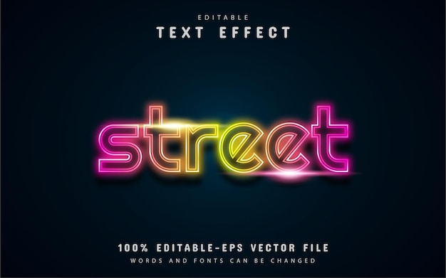 Street text, neon style text effect
