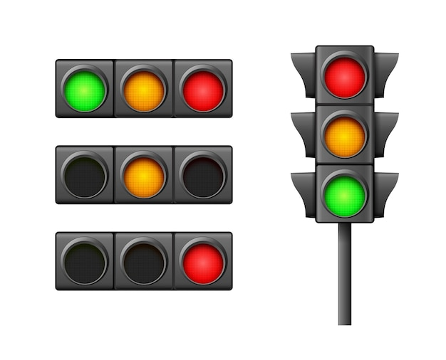 Street traffic light icon lamp isolated on white