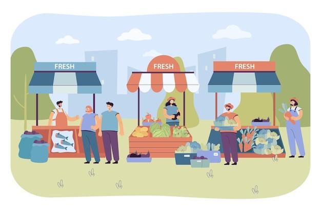 生鮮食品を人々に売る露天商