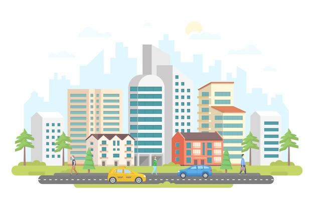 Streetscape - современная красочная плоская векторная иллюстрация стиля дизайна на белой предпосылке. изображение жилого комплекса с сочетанием архитектуры, небоскребов, небольших зданий, деревьев, машины, такси, людей.