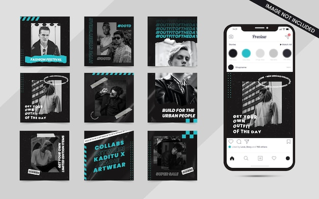 Streetwear urban fashion set of social media post feed banner for instagram square sale promotion template