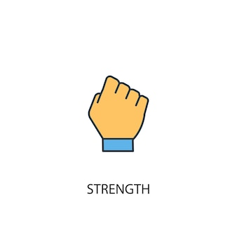 Strength concept 2 colored line icon. simple yellow and blue element illustration. strength concept outline symbol design