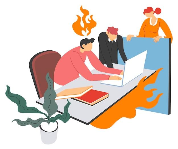 직장 사무실 팀 작업에서 스트레스와 마감
