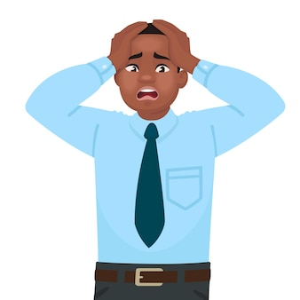 Stress and anxiety at work. an african american male office worker is alarmed. headache. problems in business. in cartoon style