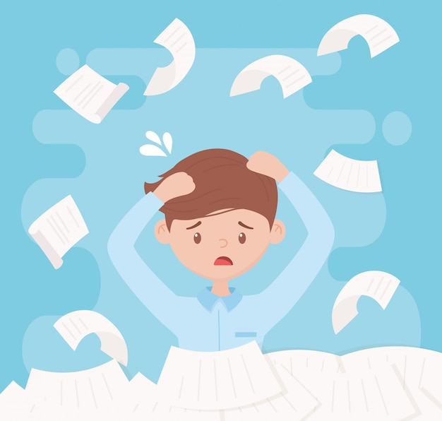Стресс на работе, довольный рабочий кипы бумаг и документов