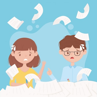 Стресс на работе, падающие бумаги, взволнованные работники, работающие