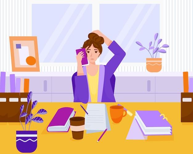 Стресс на работе. трудолюбивый. много работы на рабочем месте в офисе. вектор