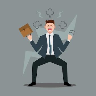 Стресс на рабочем месте. разъяренный бизнесмен переживает нервный срыв или профессиональное выгорание в офисе, бросает мебель и кричит, иллюстрация в плоском стиле