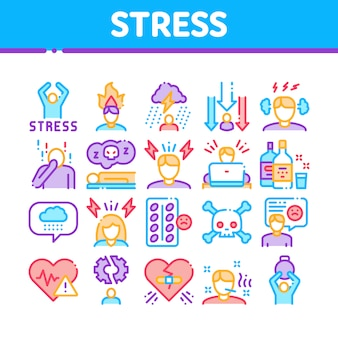 Stress and depression collection icons set