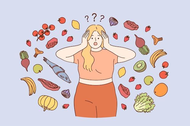 스트레스 다이어트 체중 감량 개념 프리미엄 벡터