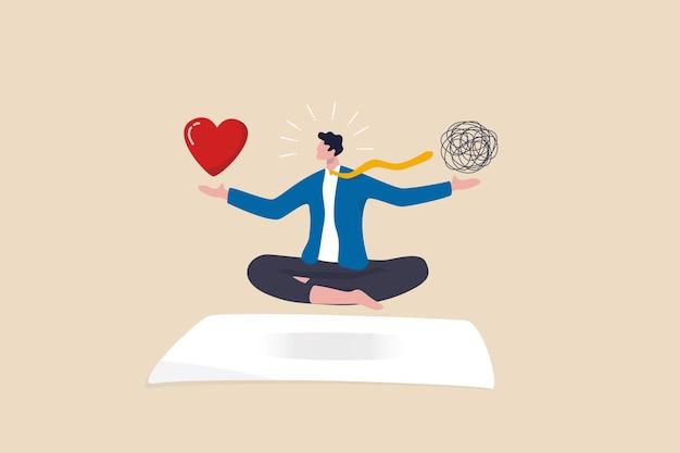 업무 집중과 정신 건강 사이의 스트레스 관리 균형, 일과 삶의 균형 또는 명상과 휴식, 사업가는 떠다니는 혼란스러운 혼란과 업무 열정 심장 모양을 명상합니다.