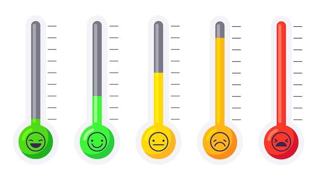 ストレスまたは痛みのレベルの温度計が設定されています Premiumベクター