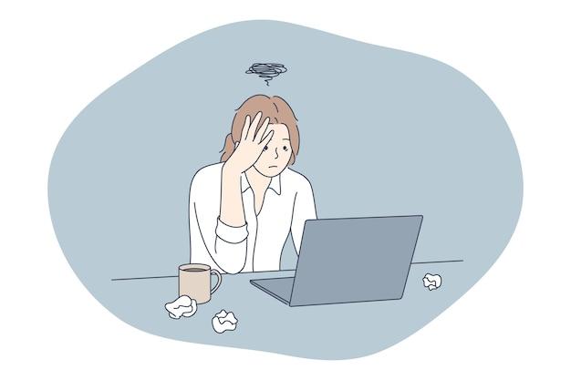 스트레스, 과로, 과부하 개념. 불행 한 우울 스트레스 젊은 여자 회사원 앉아