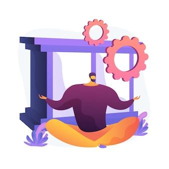 Riduzione dello stress e attività di sollievo. personaggio dei cartoni animati dell'uomo che si siede nella posa del loto. lavoro e riposo in equilibrio. meditazione, rilassamento, riequilibrio. illustrazione della metafora del concetto isolato di vettore